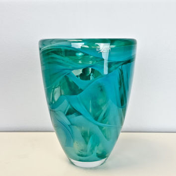 Vintage Kosta Boda Aqua Art Glass Vase, Kosta Boda Aqua Votive Candle Holder, Turquoise Swirl Art Glass Vase, Scandinavian Decor, Swedish