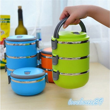 Thermal Insulated Lunch Box Bento Picnic Storage Mess Tin Food Jar Multilayer Stainless Steel For Students Children Outdoor Camping
