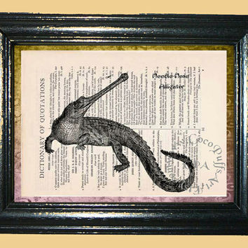 Australian Needle-Nose Alligator with Name Title Art - Vintage Dictionary Book Page Art Print Upcycled Book Art Mixed Media Art Collage Art
