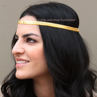 SALE Persian Princess Gold snake chain headband, Hair jewelry, headpiece, hairchain, headchain, hair accessory, accessories, boho prom style