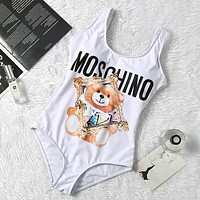 Moschino New fashion bear letter print straps one piece bikini swimsuit White