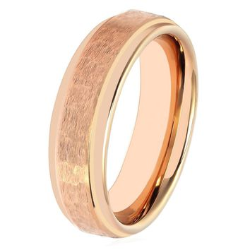 Rose Gold Wedding Band Mens Engagement Ring 18k Tungsten Carbide 6mm Hammered Wedding Band Polished Stepped Edges Male Anniversary Male Wedding Band