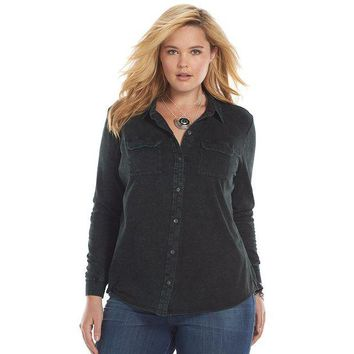 ONETOW Rock & Republic Acid-Wash Shirt - Women's Plus Size, Size: