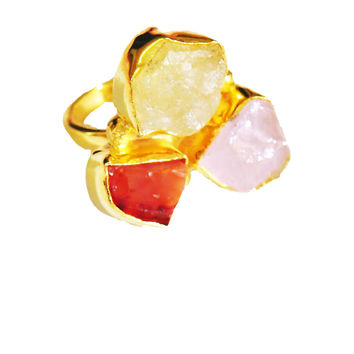 Bold and Beautiful Rough Gemstones Ring