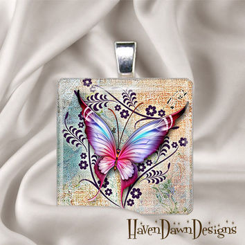 Psychedelic Butterfly Glass Tile Pendant