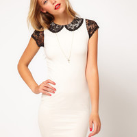 ASOS Mini Bodycon Dress With Lace Sleeve And Collar at asos.com