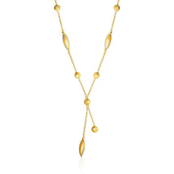 14K Two Tone Gold Necklace with Marquise Motifs and Textured Circles