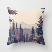 Mountains through the Trees Throw Pillow by Kurt Rahn