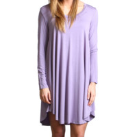 Lilac Gray Piko Scoop Neck Dress