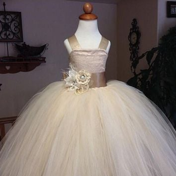 vintage lace rustic champagne color spaghetti straps fluffy tulle ball gown flower girl dresses for weddings evening party