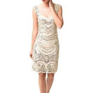 Illusion 1920s Beige Flapper Dresses Back Mesh Layered