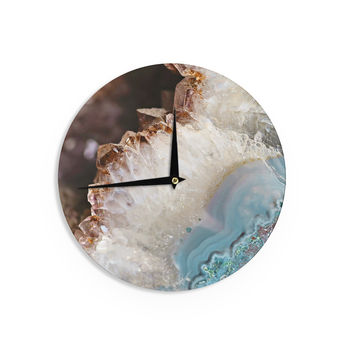 "Sylvia Cook ""Quartz Waves"" Blue Brown Wall Clock"