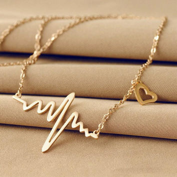 Wave Heart Chic ECG Heartbeat Rose Gold/Silver Pendant Charm Statement Necklaces Body Chain Rhythm ECG EKG Valentine's Day Gifts