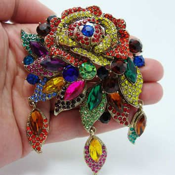 Fashion Vintage Style Art Deco Flower Rose Brooch Pin Pendant Colorful Rhinestone