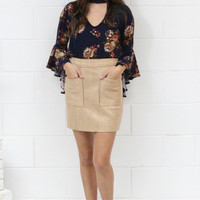 Stitch Perfect Suede Mini Skirt with Pockets {Taupe}