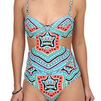 Light Green One-Piece Spaghetti Strap Swimsuit