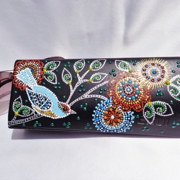 Glasses case Bird decor Hand painting