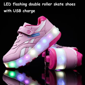 Recharger LED Flashing Double Roller Skate Shoes Colourful USB Charging Roller Skates Shoes Luminous Sneakers For Female Kids
