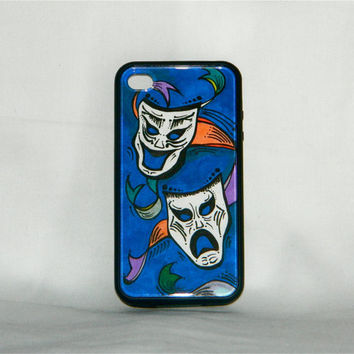 Bring On the Drama, iPhone case, iPhone cover, iPhone 4/4s, theater, happy/sad masks, lady gaga, one of a kind, unique, blue, hipster, indie