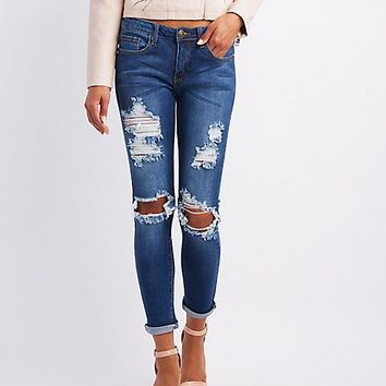 Machine Jeans Destroyed Mid-Rise Skinny Jeans | Charlotte Russe