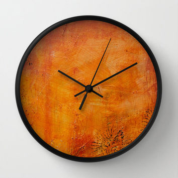 Abstract wall clock, textured effect orange gold autumn wall decor, acrylic art painting print for modern home