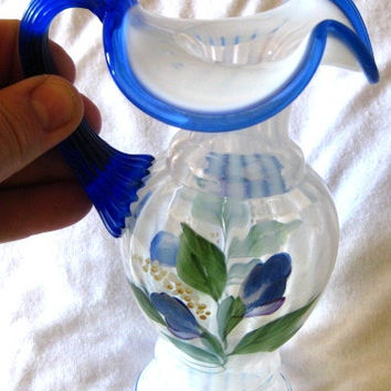 RARE Fenton Handpainted ewer in PERFECT condition Signed FREE ship to U S A