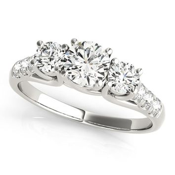 14k White Gold 3 stone Engagement Ring (0.25 carat, I-J Color, I1-I2 Clarity)