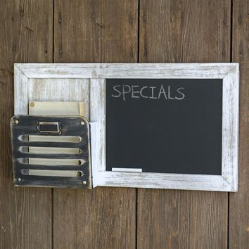 Rustic Country Style Chalkboard and Single Pocket Organizer Message Display
