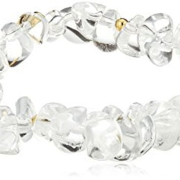 Kenneth Jay Lane Rock Crystal-Look Chips and Gold-Tone Beads Stretch Bracelet