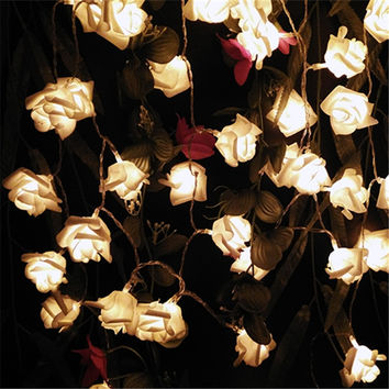 2016 Multicolor Decor. Wedding Rose LED String Lights Battery for Party Event Christmas Birthday Decoration Lightings Casamento
