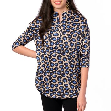 Heather Mandarin Collar Blouse in Tan Leopard