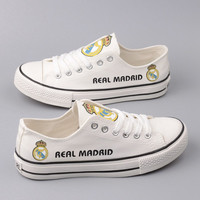 Custom Printed Low Top Canvas Shoes - Real Madrid