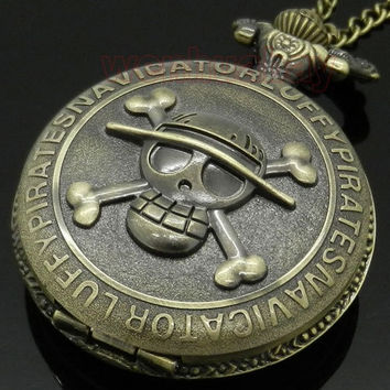 Antique Vintage Retro Bronze Pirate Skull One Piece Quartz Pocket Watch Necklace Men Women P28 = 1946126276
