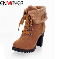 ENMAYER Shoes Woman Fashion Women Ankle Boots High Heels Lace up Snow Boots Platform Pumps  keep warm women boots drop shipping