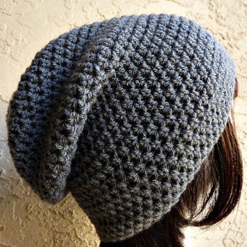 Dark Grey Gray Slouch - Crochet Slouchy Beanie - Womens Slouchy Hat - Hipster Hat