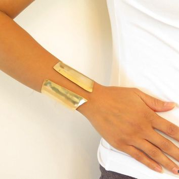 Brass Chevron Wrist Cuff, Gold Hand Formed Artisan Cuff