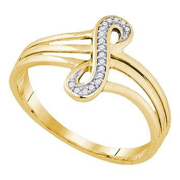 10kt Yellow Gold Women's Round Diamond Vertical Infinity Strand Ring 1/20 Cttw - FREE Shipping (US/CAN)