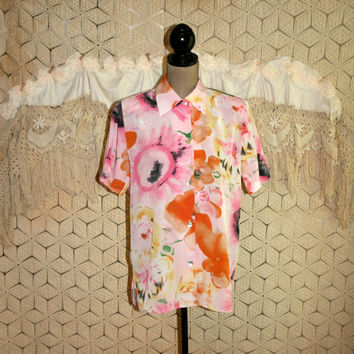 Floral Blouse 80s Clothing Boxy Top Button Up Short Sleeve Shirt Oversized Pink Orange Mod Vintage Clothing Small Medium Womens Clothing