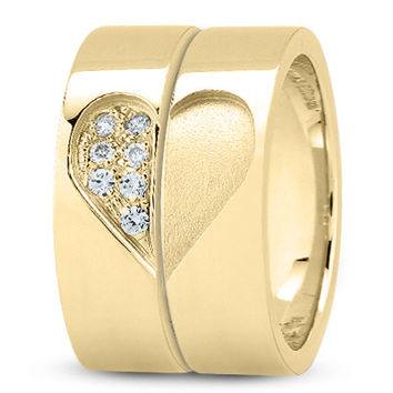 Wedding Band - 18 Karat Yellow Gold His and Her's Wedding Band Set