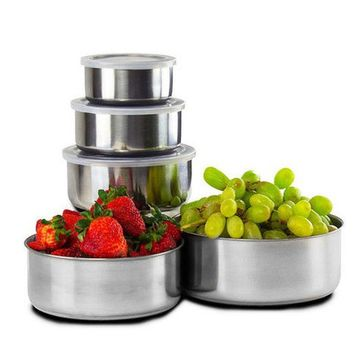 5 Pcs/SET Food Container Stainless Steel Double-insulated Home Rice Soup Bowl Bowl Home & Kitchen