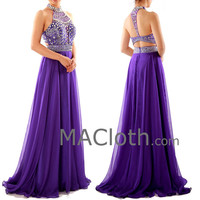 Halter A Line Crystals Chiffon Purple Long Prom Dress with Court Train