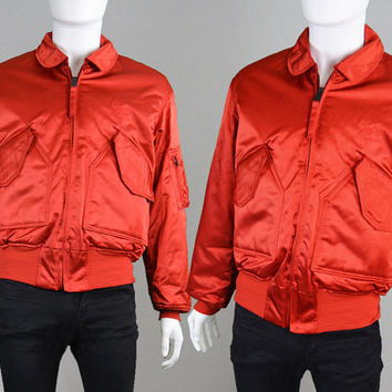 Vintage ALPHA INDUSTRIES Red Satin Bomber Jacket Flying Jacket Airforce Coat CWU 45-P Nylon Jacket Mens Jacket Pilot Jacket Cold Weather