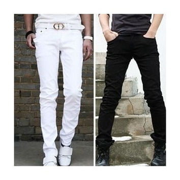 Men's Casual Pure Handsome Youth Slim Fit Trousers Feet Pants White Black (USA 28/29/30/31/32/33/34) [9210699907]