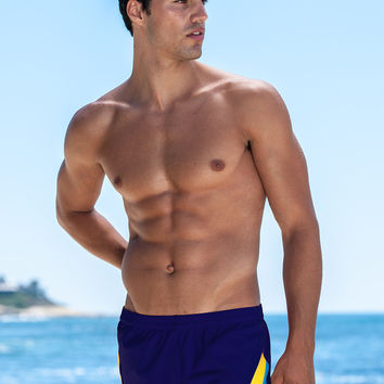 Sauvage Mens Swimwear Color Splice 80's Swim Trunks - Navy