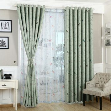 Curtains for bedroom Blue Green pattern Blackout Window Treatments Pastoral Curtain kitchen Hook Window curtain living room