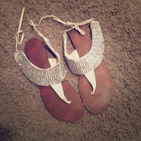 Silver Tie Back Sandals