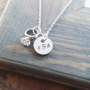 Couples Initials Necklace - Tiny Initial Necklace - Engagement Necklace - Couples Necklace - Newlywed jewelry - Bridal Shower Gift - Dainty