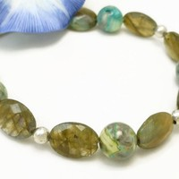Oval Labradorite Natural Faceted Gemstone Agate Sterling Bracelet