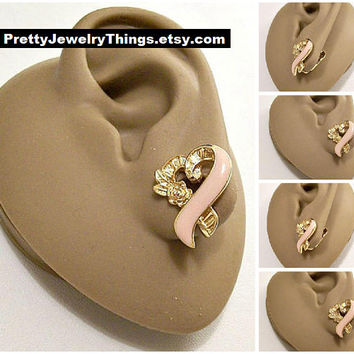 Avon Pink Ribbon Rose Flower Leaf Clip On Earrings Gold Tone Vintage Breast Cancer Awareness Swirl Heart Layered Bands Brushed Lined Discs