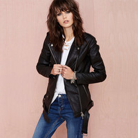 Black PU Leather lapel Collar Zipper Front Jacket